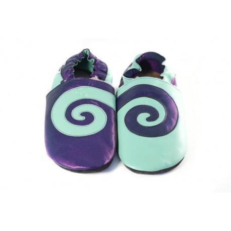 Spirale sur cuir bleu denim et turquoise
