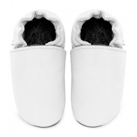 chaussons cuir blanc