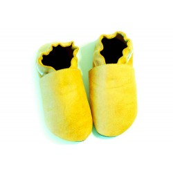 slippers - yellow crackled effect