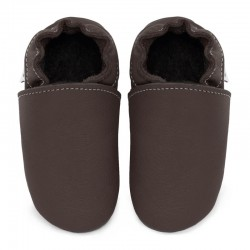 chaussons cuir - taupe
