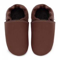 Soft leather slippers - bruciato
