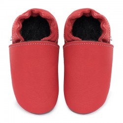 chaussons cuir - rosso fueco