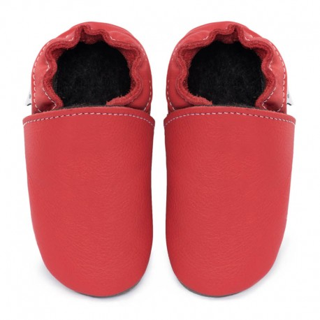 Soft leather slippers - rosso fueco