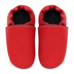 Soft leather slippers - santa claus