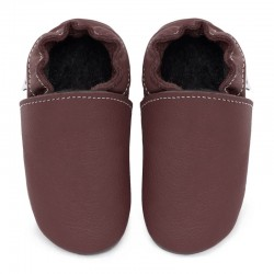Soft leather slippers - dark burgundy