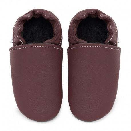 Soft leather slippers - dark burgundy