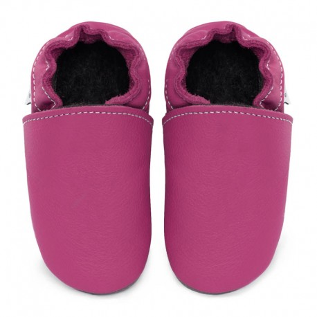 Soft leather slippers - fuxia