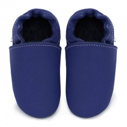 chaussons cuir - denim