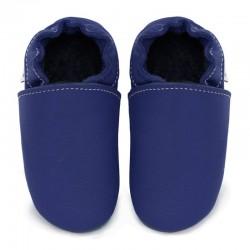 Soft leather slippers - denim