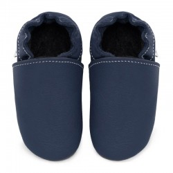 Soft leather slippers - blu marino