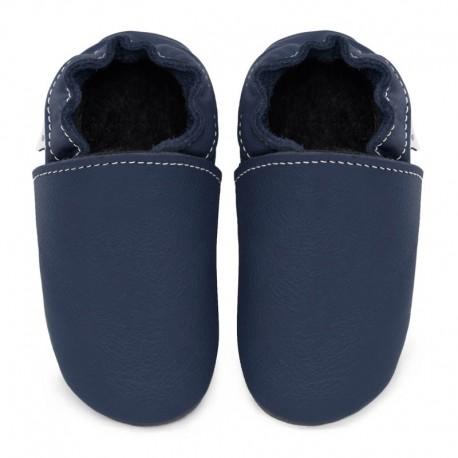 Soft leather slippers - blu marino