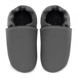 Soft leather slippers - fog
