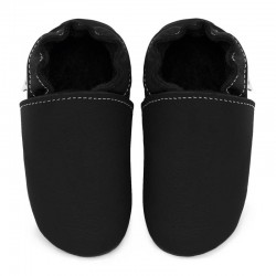 chaussons cuir - nero