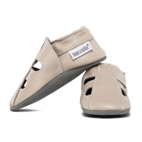 Soft summer leather slippers - cream