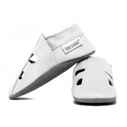 Soft summer leather slippers - bianco
