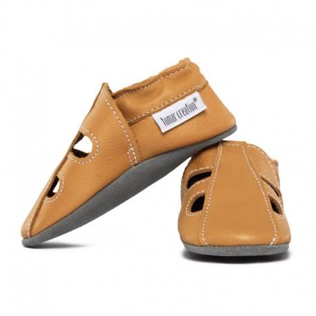 Soft summer leather slippers - savanna