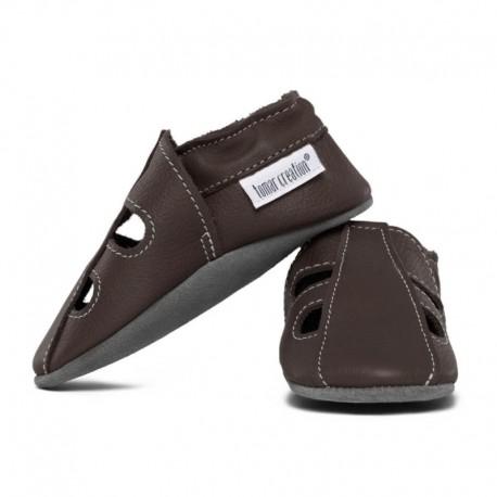 chaussons cuir été - taupe