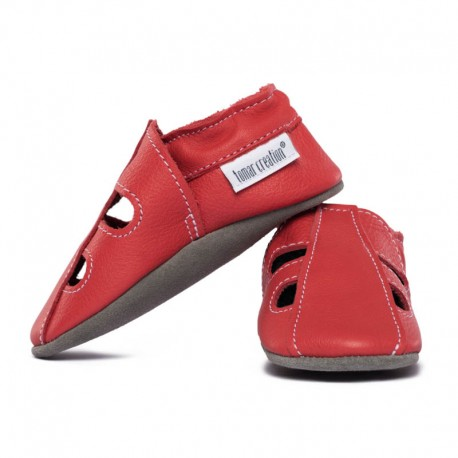 Soft summer leather slippers - rosso fueco