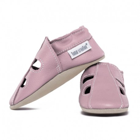 Summer leather slippers - cameo