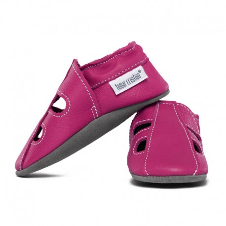 Summer leather slippers - fuxia