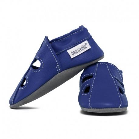 Summer leather slippers - denim