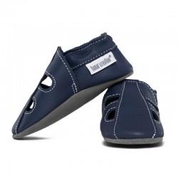 Summer leather slippers - blu marino