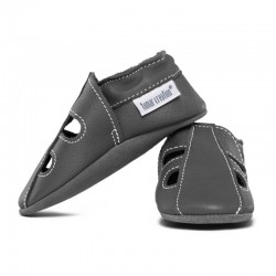 Summer leather slippers - fog
