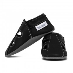 Summer leather slippers - nero