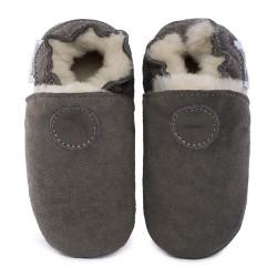 Pantoufles peau lainée grise