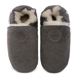 Gray woolen slippers