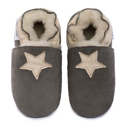 Gray woolen slippers, beige star
