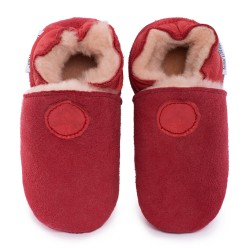 Red woolen slippers