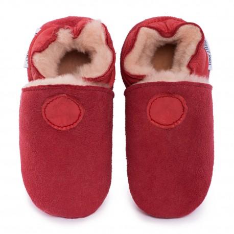 Pantoufles peau lainée rouge
