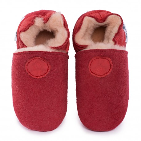 Red woolen slippers