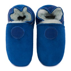 Blue woolen slippers