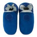 Pantoufles peau lainée bleu