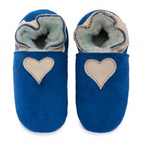 Capačky ovčia koža modrá - béžové srdcé
