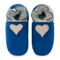 Pantoufles peau lainée bleu, coeur cream