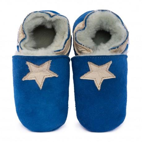 Blue woolen slippers, beige star