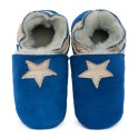 Pantoufles peau lainée bleu, étoile cream