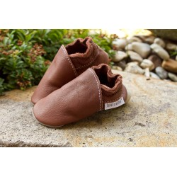 Organic leather slippers - coconut