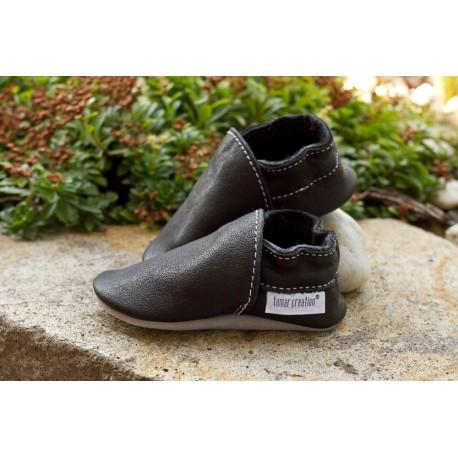 Organic leather slippers - schwarz