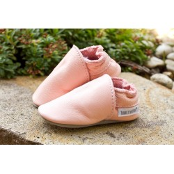 Organic leather slippers - Baby rosa