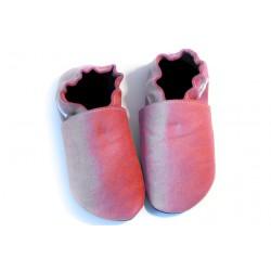 Kožené capačky - ružové prasknutý efekt
