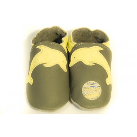 Soft slippers - yellow dolphin