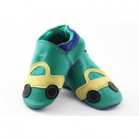 Soft slippers - turquoise car