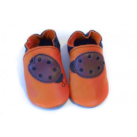 Soft slippers - ladybug - volcanic