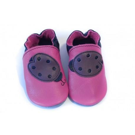 Soft slippers - ladybug - fuxia
