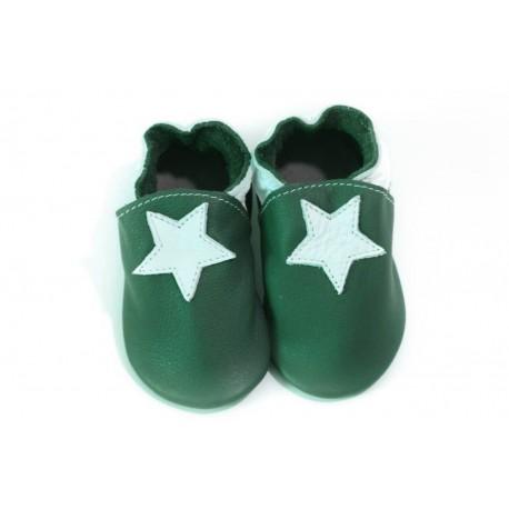 Chaussons - petite étoile - avocado