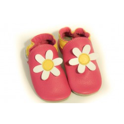 Chaussons - marguerite - fuxia